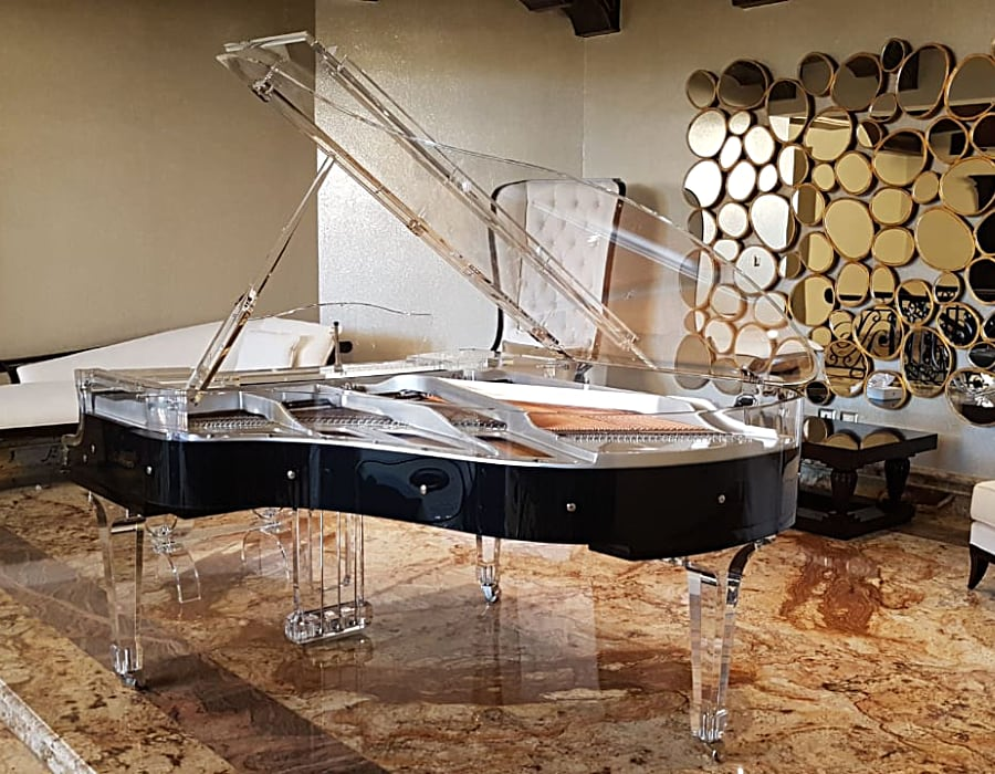 The timeless elegance of Black Bluthner Lucid semitransparent piano will elevate any interior.