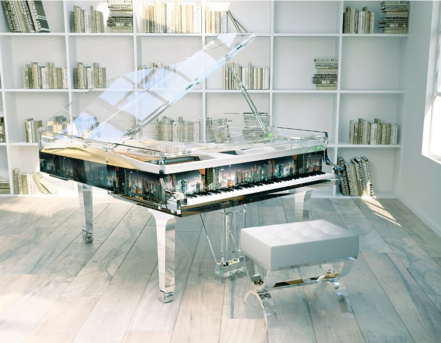 We fall in love with cities we live it. Put your favorite skyline on the sites of the Lucid Panoramic plexiglass piano.