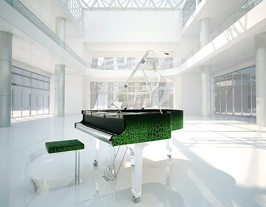 Channel your inner King/Queen of the Jungle with TransLucid acrylic baby grand piano with alligator skin print. The emerald green and acrylic combination is simply stunning and evokes the color of the rainforest and marvelous fresh air.
