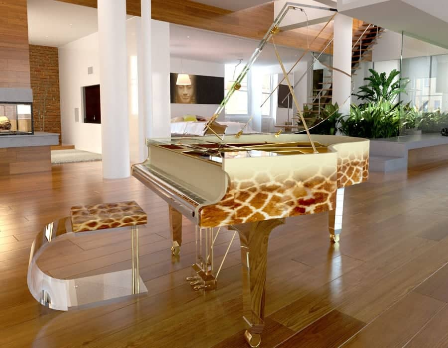 This one is straight Out Of Africa. If your heart dreams of an exotic safari Translucid acrylic piano with giraffe print on the side rim will fulfill this dream.