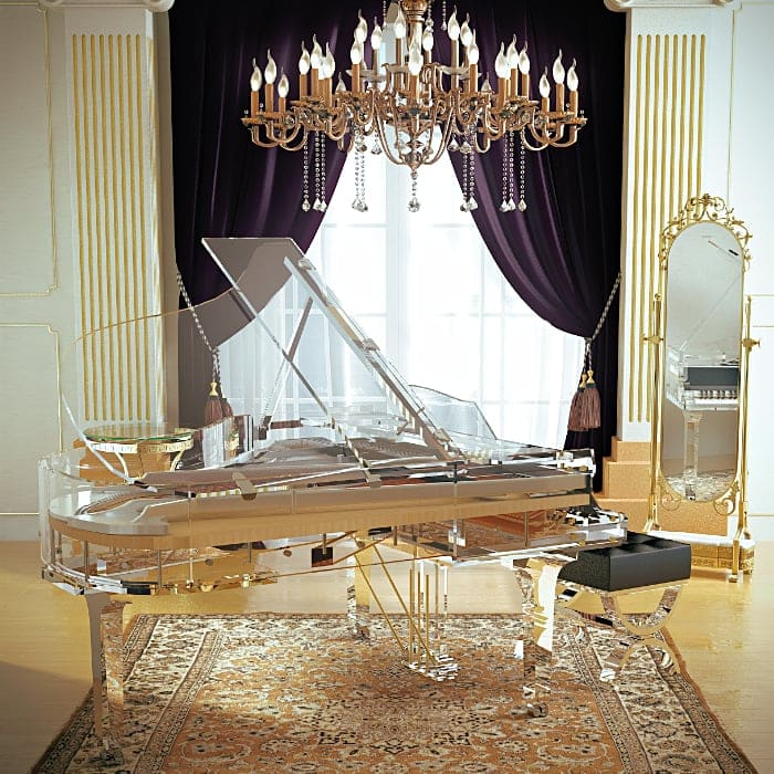 The elegant Lucid iDyllic glass grand piano blends magically with the mirrors and chandelier theme of this Versaille-like room.