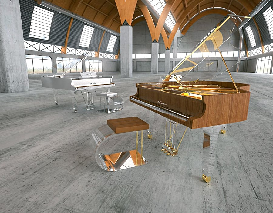 into modern minimalism? Translucid acrylic baby grand with traditional walnut wood veneer is just the right choice.