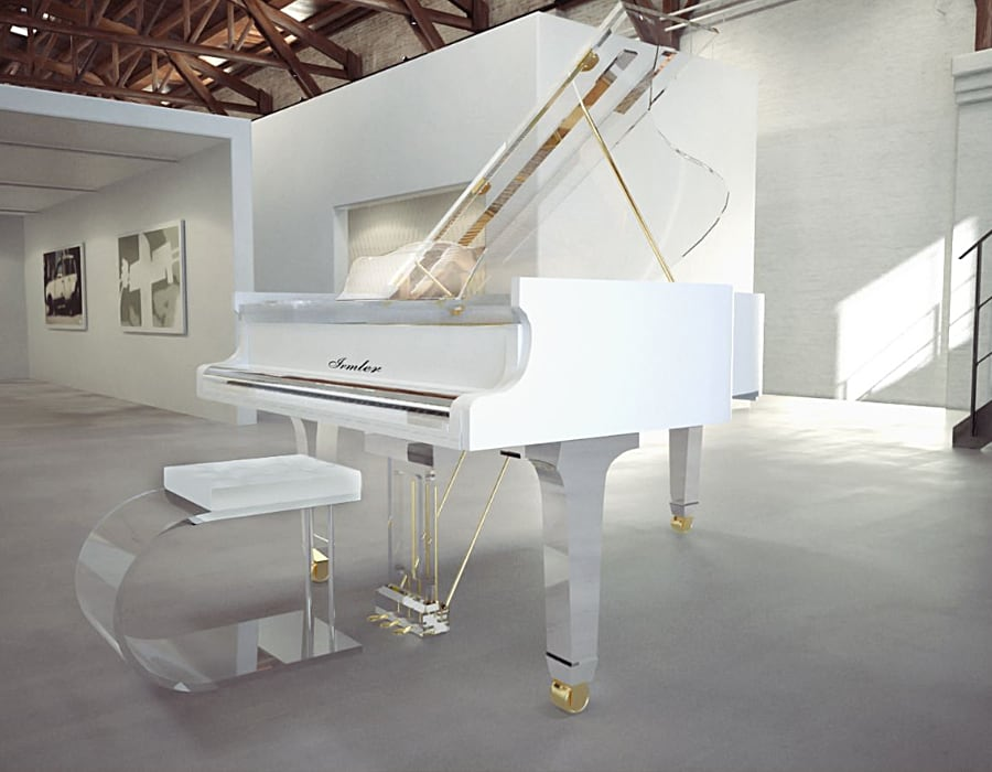 Luxurious snow white piano rim with transparent top and bottom looks stunning on this Translucid acrylic baby grand piano.