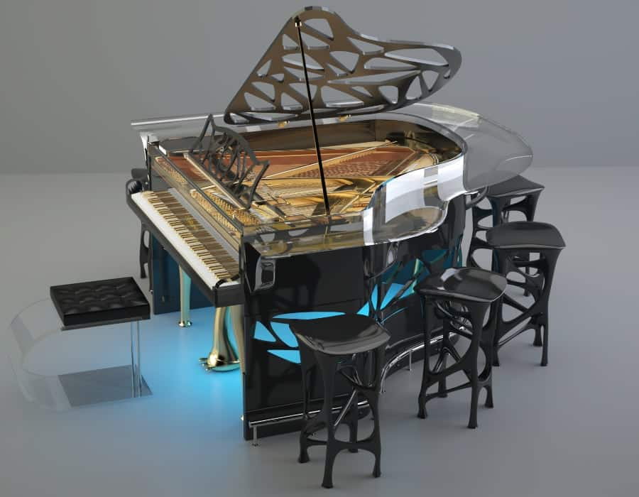 Order your Lucid Hive Elegance acrylic piano with a custom built colored acrylic piano bar attachment - Perfect for entertaining guests!