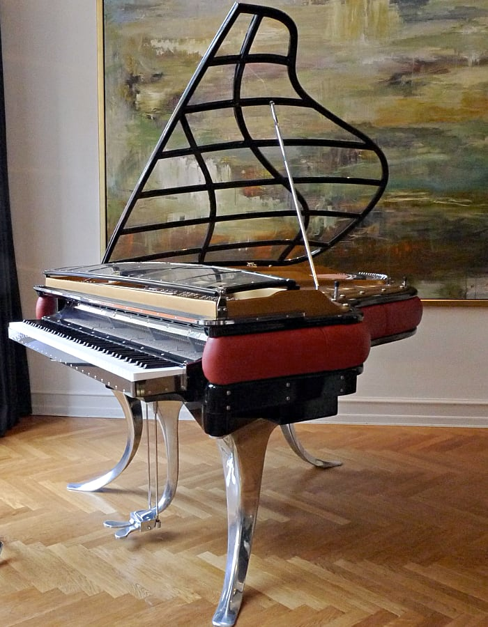 If you like Art-Deco style - choose Bluthner PH piano which is available with custom side panels and piano lid with acrylic inserts.