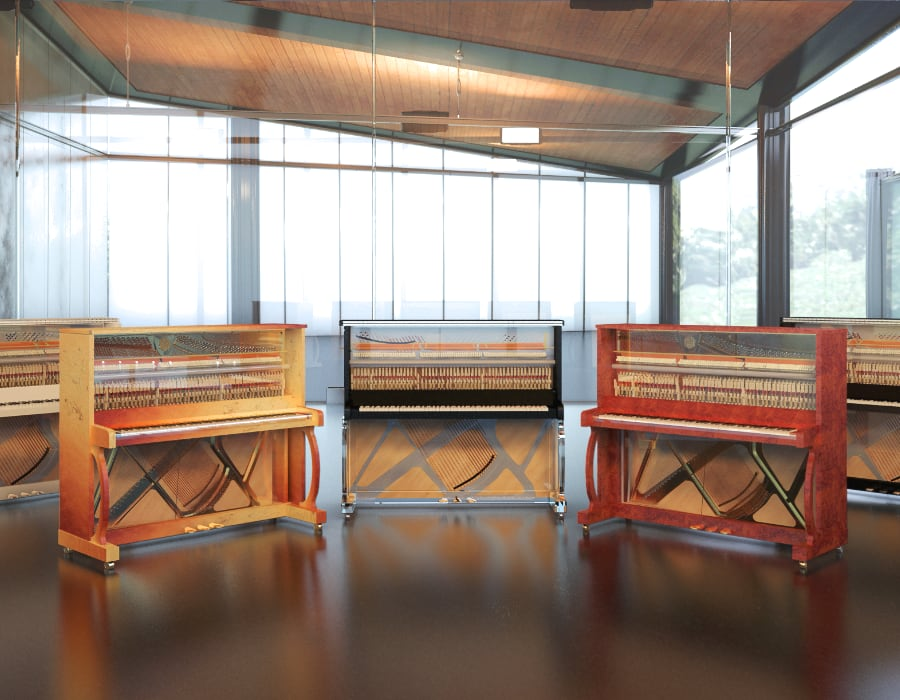 Don't have a room for a baby grand? Take a look at all the available transparent piano options that Lucid Pianos is offering.