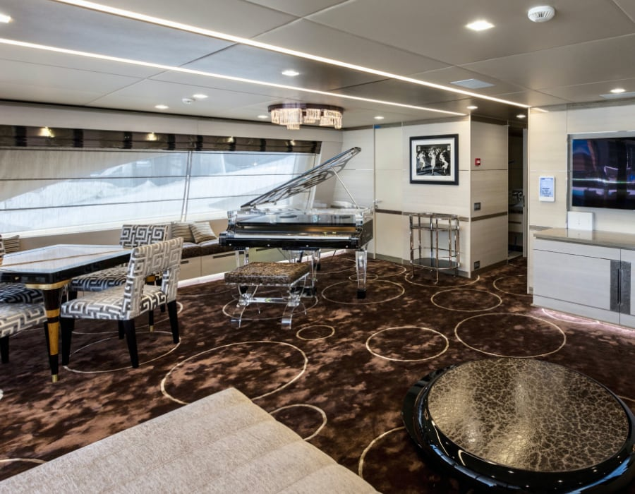 We believe that a luxury mega yacht deserves a luxury piano - take a look at this custom acrylic transparent baby grand piano customized designed for this particular yacht.