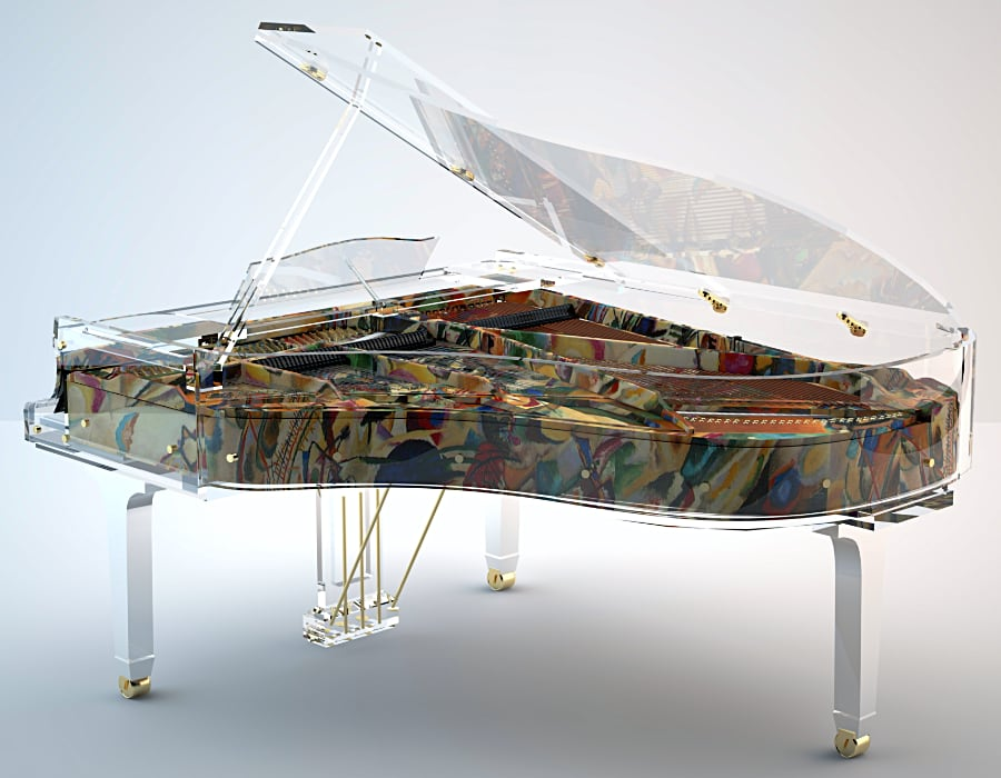 Lucid Panoramic is a unique crystal piano as it allows buyers to choose any print or painting to be applied to the side rim.