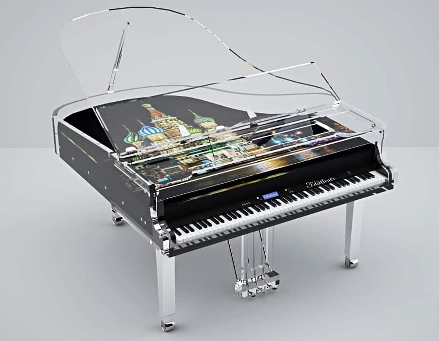 Add your image or brand logo to this acrylic piano made by Bluthner Lucid.