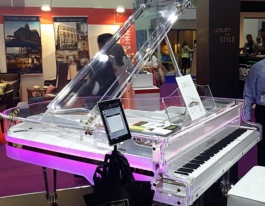 Lucid Elegance transparent piano with a player system