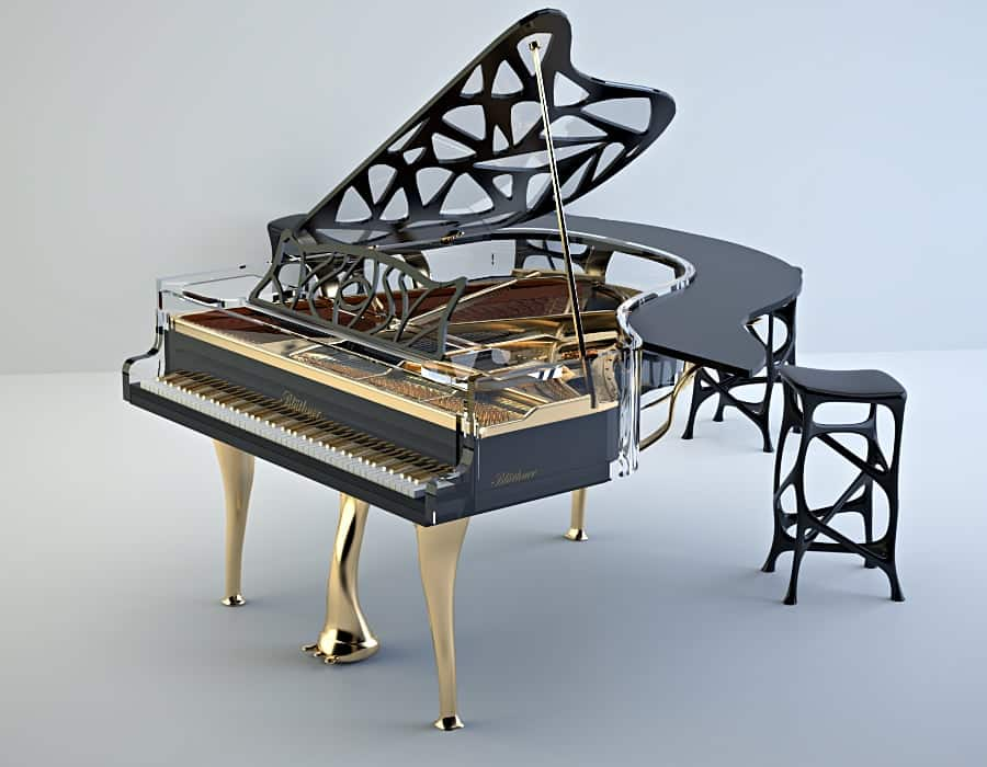 Add a touch of functionality to this semi-transparent Lucid Hive Elegance baby grand piano.