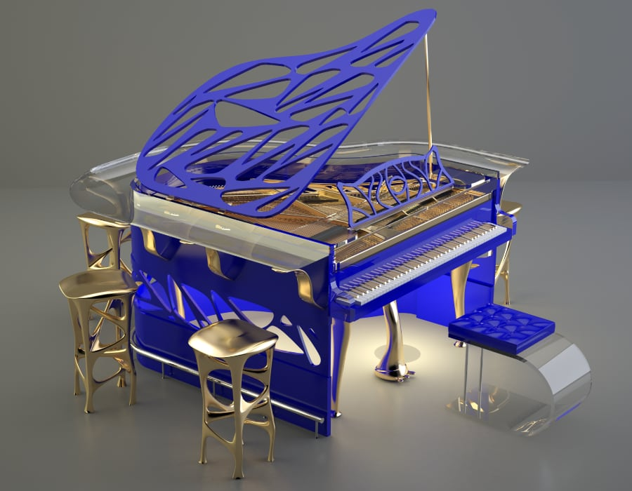 What would be your ideal Lucid Xtravaganza? Here is an electric blue model with a transparent piano bar.