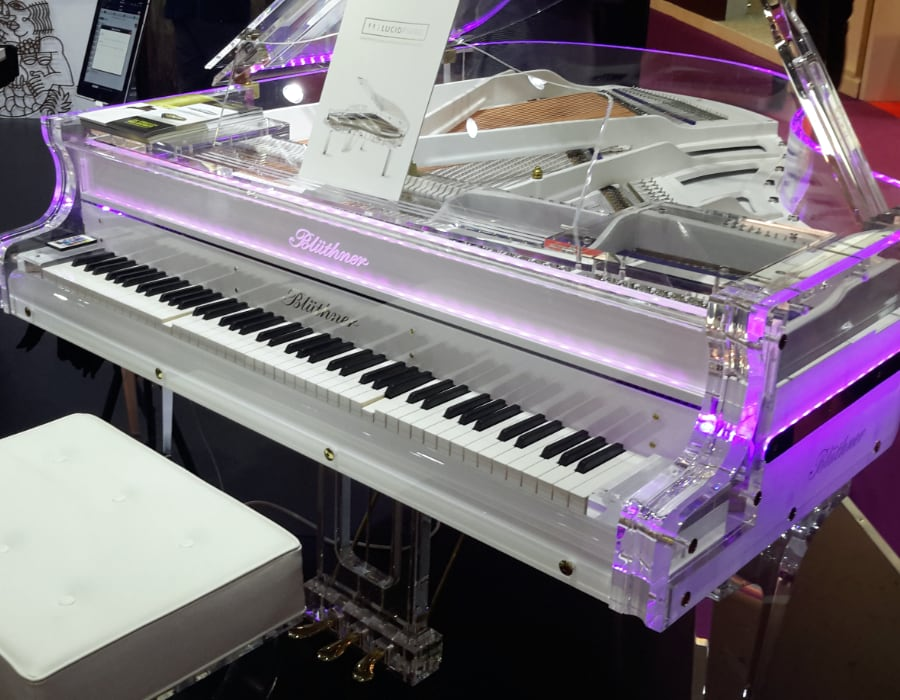 A crystal Lucid piano can be ordered with a backlit logo - a unique feature only available on Bluthner Lucid Pianos.