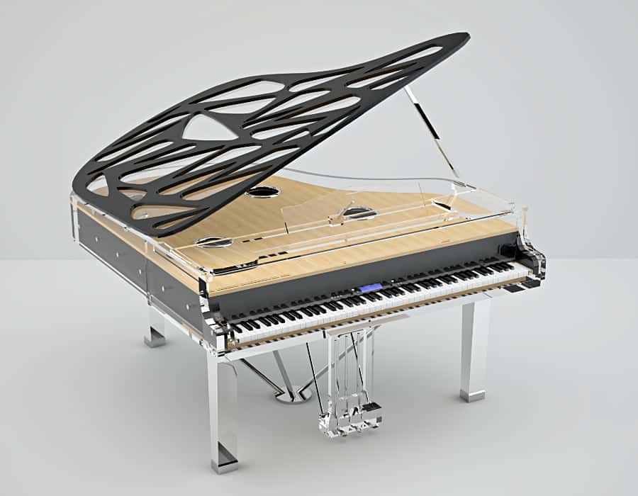 Bluthner has a line of digital pianos that can be retrofitted with acrylic piano cases.