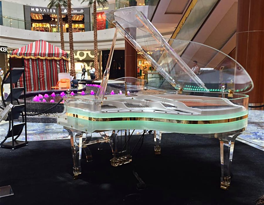 Almost all our client choose to get a built in LED illumination on their transparent pianos. The light color can be remotely controlled.