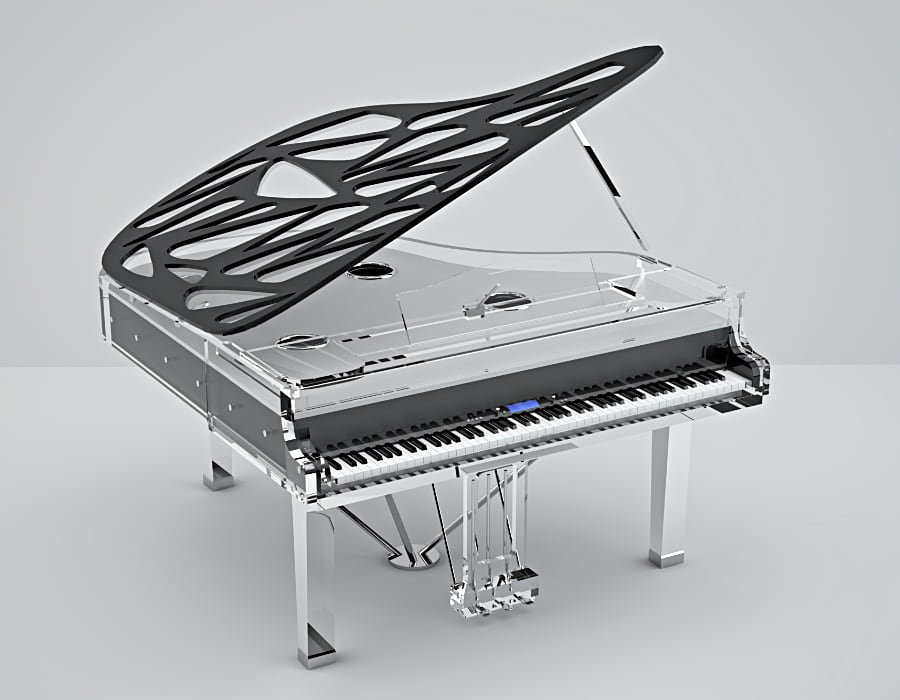 Lucid Pianos manufactures a line of fine digital pianos. Here is an example of a Bluthner Lucid with Hive lid and acrylic parts.