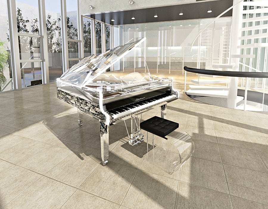 Lucid Digital acrylic baby grand piano with custom rock print on the side rim.