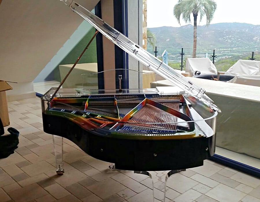 if you prefer a traditional black piano look, why not consider something unique for the inside? Here is Lucid Elegance model with rainbow frame - a fine balance between traditonal and contemporary design.