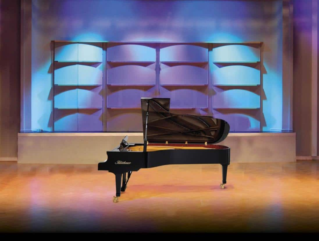Bluthner concert grand piano on stage
