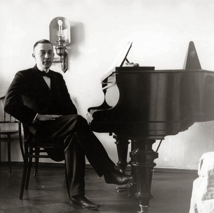 Sergei Rachmaninoff at the Bluthner grand piano