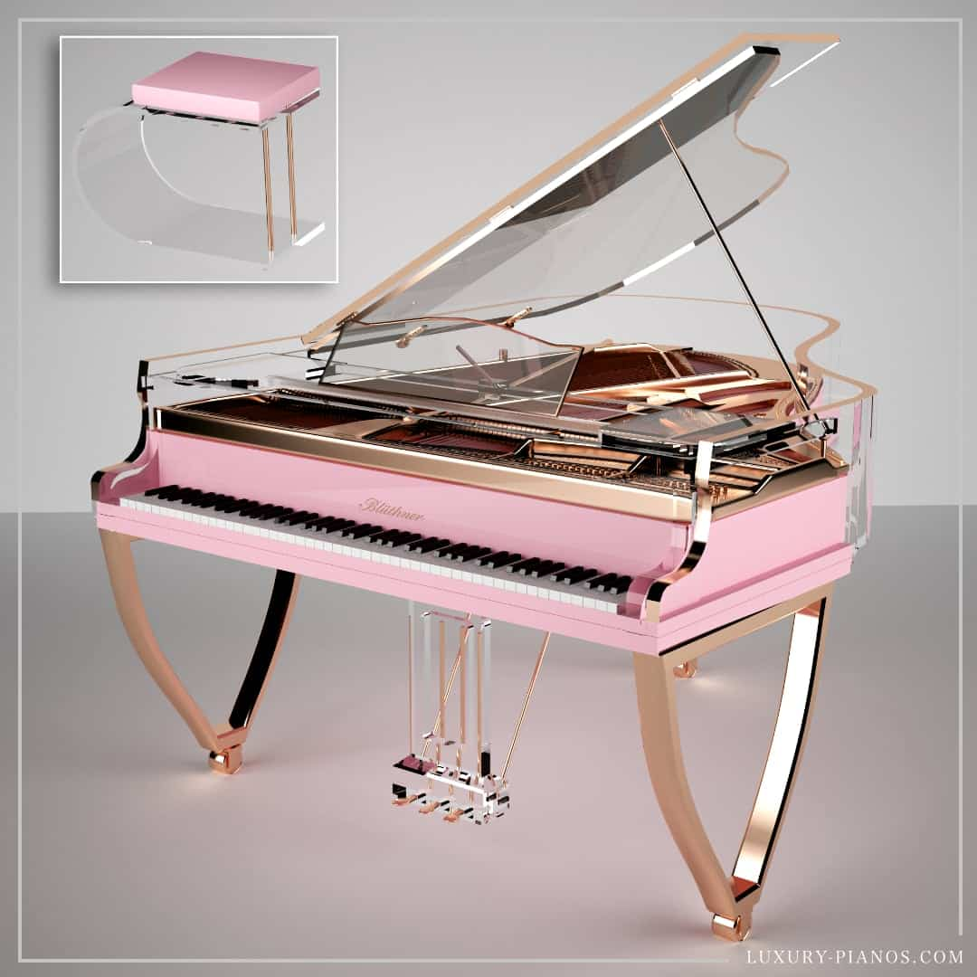 Lucid Elegance pink grand piano with rose gold legs