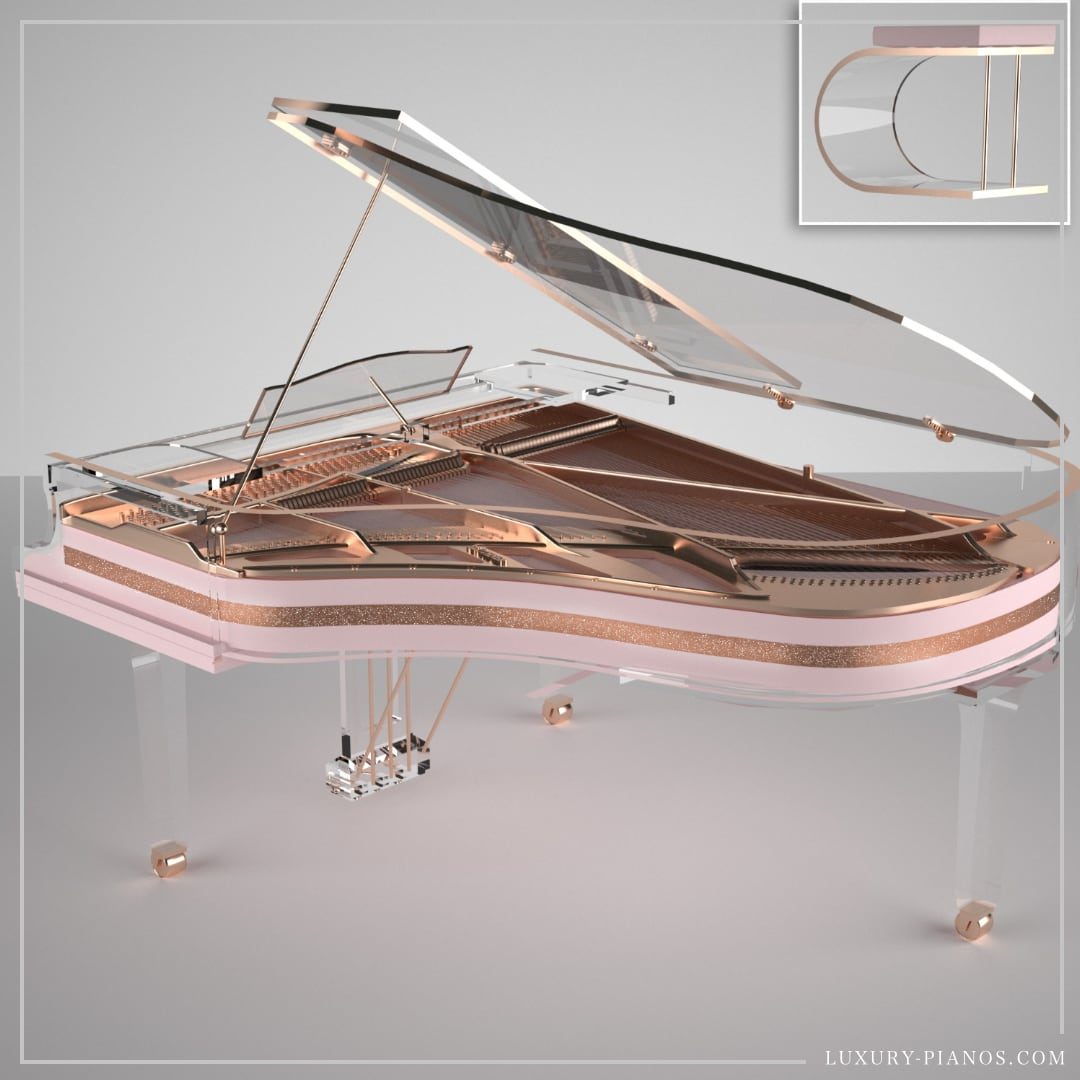 Lucid Elegance pink grand piano with swarovski crystals