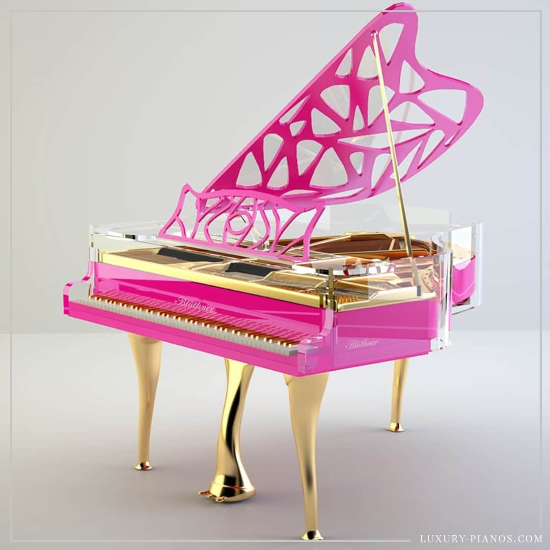 Lucid Hive Elegance pink baby grand piano
