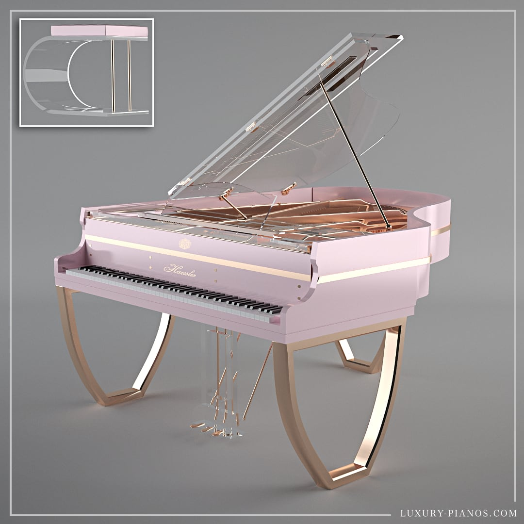 Translucid Tiara modern pink piano with rose gold