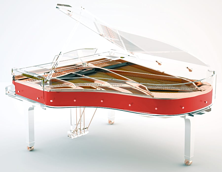 Lucid Elegance red grand piano