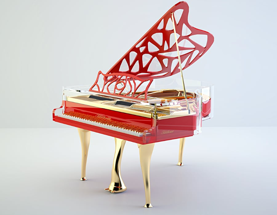 Lucid Hive Elegance red grand piano