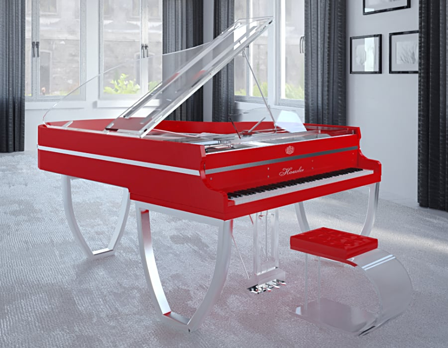 Translucid Tiara red grand piano for sale