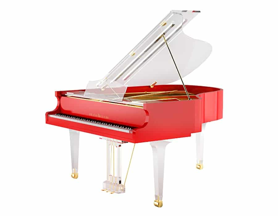 Translucid red baby grand piano