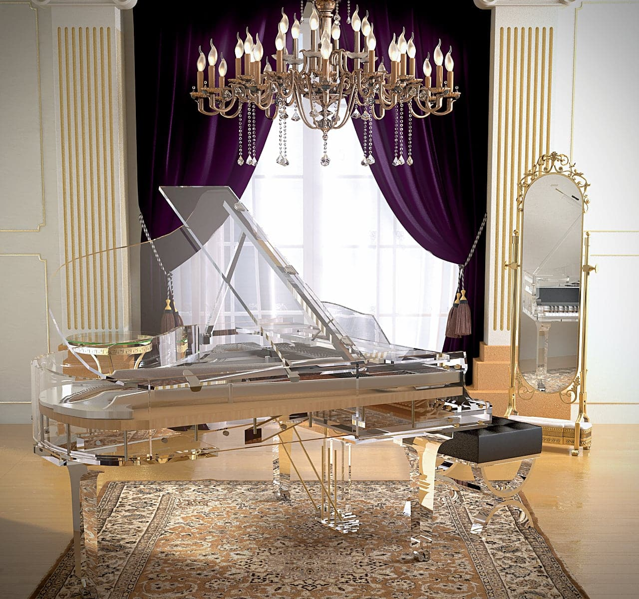 Bluthner Lucid iDyllic Excellence transparent clear piano