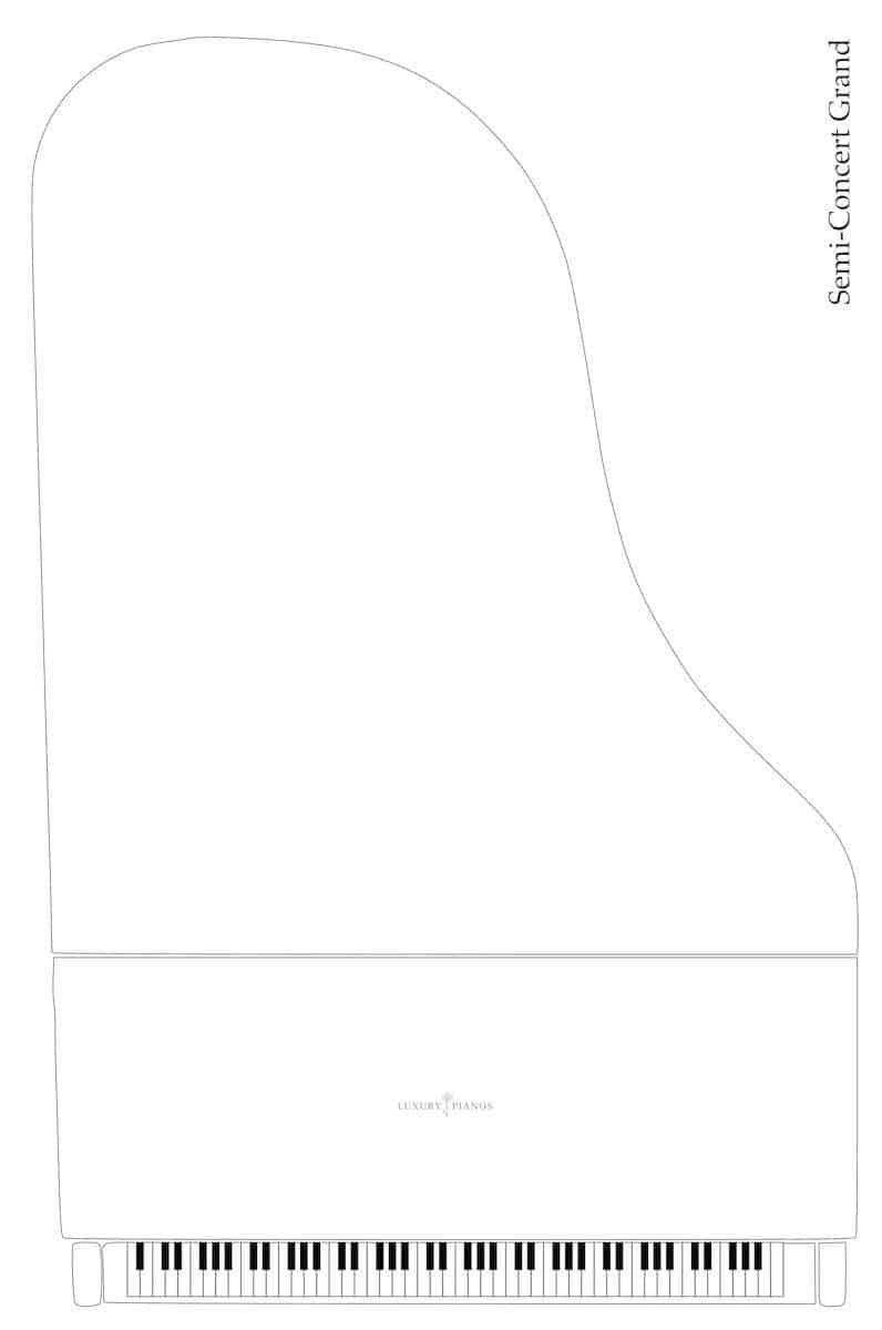 Semi-concert grand piano dimensions
